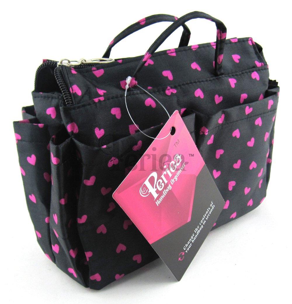 Periea Beauty Cosmetic Handbag Organizer Liner Insert Small - Black with Pink Hearts - Sash JNimports