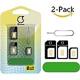 SIM Karten Adapter, Gratein 2 Stück Nano Micro Standard 5 in 1 SIM Karten Card Adapter Set Kit Konverter mit Polieren blatt und öffnen Nadel - Schwarz