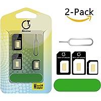 Adaptateur Carte SIM, Gratein 5 en 1 Nano Micro Carte SIM Converter Kit avec Outils de Polissage et Éjecter Aiguille - Noir (Lot de 2)