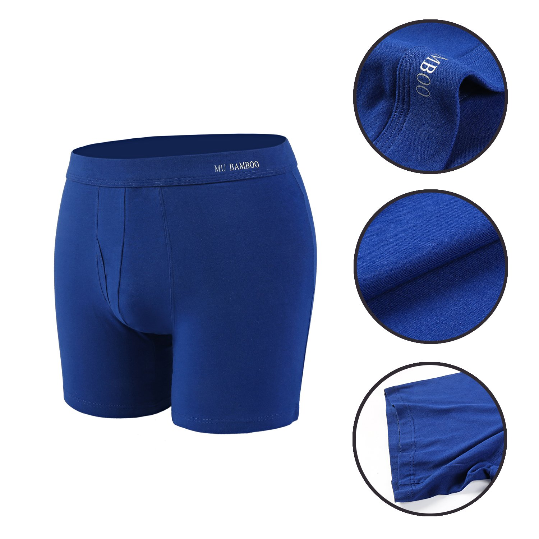 MU BAMBOO Men\'s Underwear Ultimate Soft Sports Cotton Boxer Briefs with Elastic WaistbandMU Bamboo Men\'s Underwear Ultimate Soft Sports Cotton Boxer Briefs with Elastic Waistband Dark Blue L