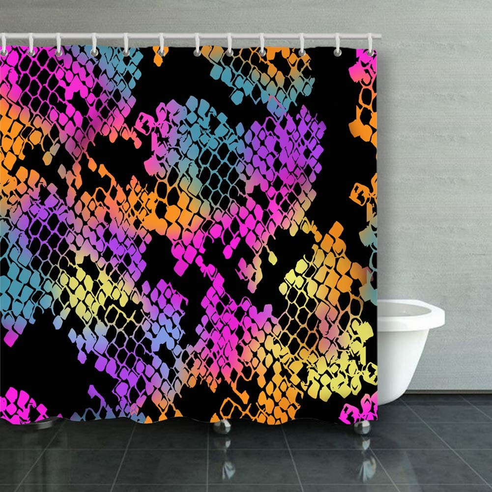 neon Snake Seamless Pattern Tile Animals Wildlife Print Animals Wildlife Backgrounds Textures Print Backgrounds Textures Shower Curtain Polyester Fabric Bathroom Decor Sets with Hooks 60 x 72 Inches
