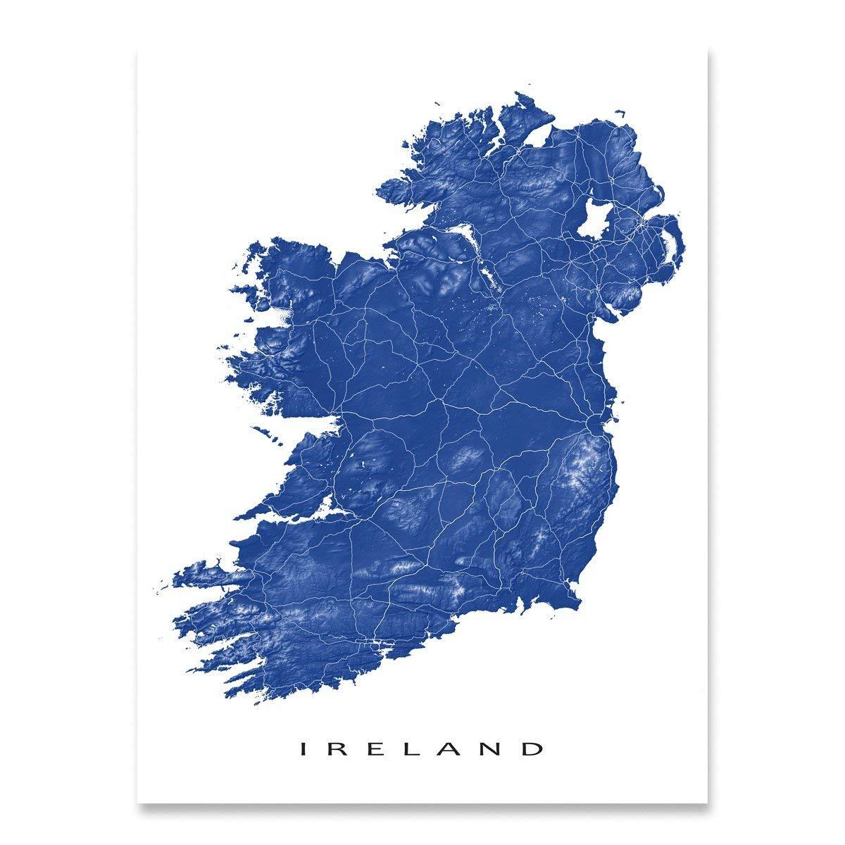 Republic Of Ireland And Northern Ireland Map.Amazon Com Ireland Map Print Landscape Art Northern Ireland