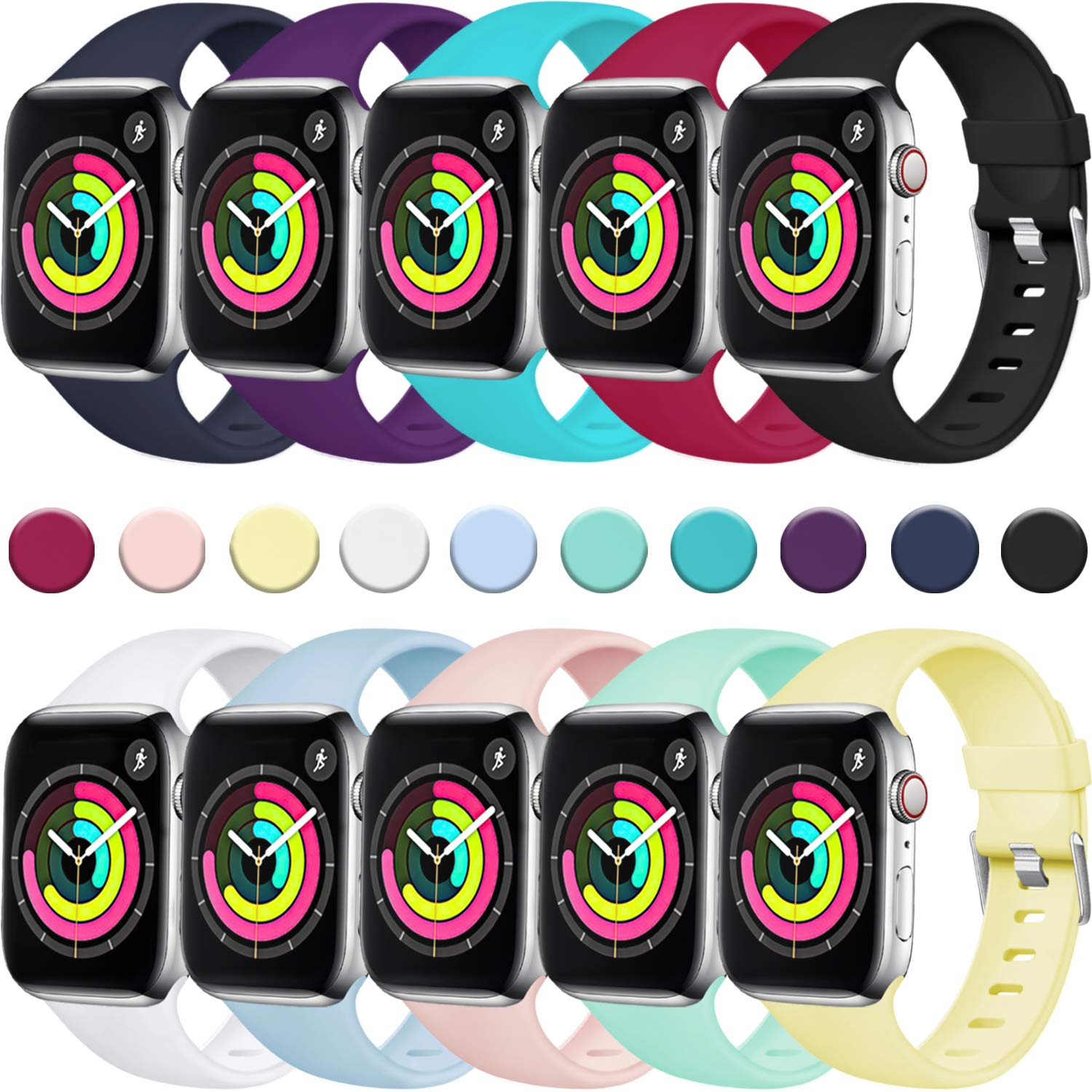 Laffav Sport Band Compatible with Apple Watch 40mm 38mm iWatch Series 4 3 2 1 for Women Men, 10 Pack, S/M