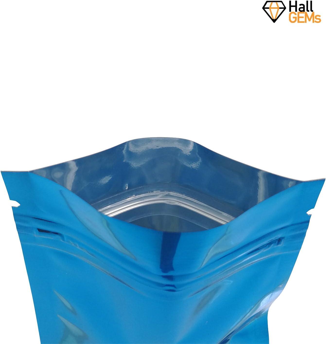 8,5 x 13 cm para almacenar alimentos bolsa resellable por HallGEMs Bolsas de aluminio Mylar con cierre de cremallera a prueba de olores 100 unidades color azul