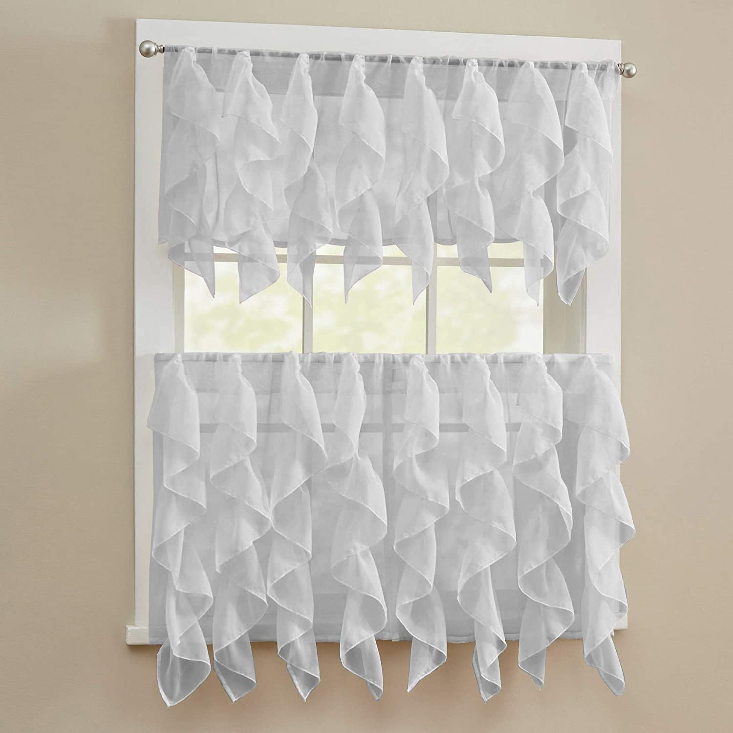 """Sweet Home Collection 3 Piece Kitchen Curtain Set Sheet Vertical Cascading Waterfall Ruffle Includes Valance & Choice of 24"""" or 36"""" Teir Pair Tier, Sheer Silver"""