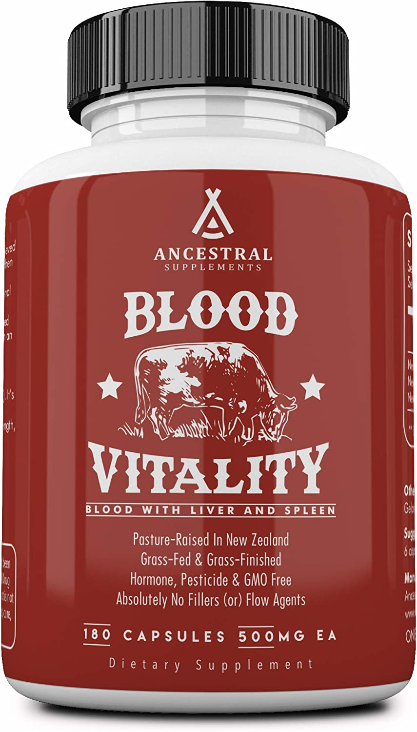 Ancestral Supplements Blood Vitality — Supports Life Blood, Bioavailable Heme Iron, Energy and Exercise Performance