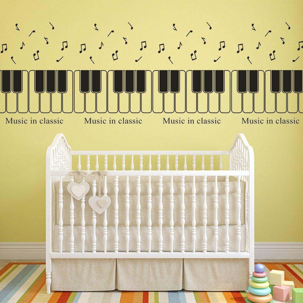 Amazon.com : Rumas Piano Key Wall Stickers for Kids Room - Removable ...
