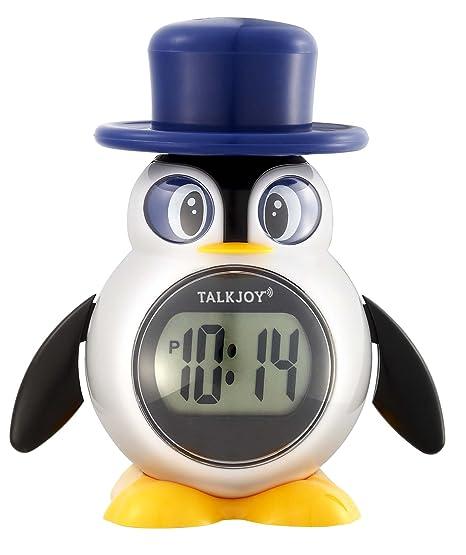 Tiempo de reloj Niños Reloj Parlante ansage Función de Voz Despertador Pingüino: Amazon.es: Relojes
