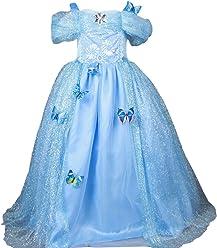 b6e4d45bf6be2 UR Fashion ディズニードレス シンデレラ 衣装 ドレス 風 子供ドレス 女の子 プリンセス なりきり コスチューム キッズ お姫様
