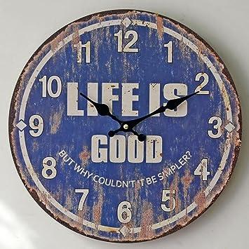 Olydmsky Reloj Pared,Madera Azul Hacer Viejo Reloj decoración Cuarzo Pared muda no-Pulso de Reloj fácil de Leer: Amazon.es: Hogar