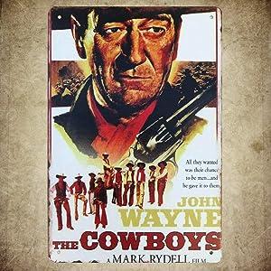 HAIMAX Metal Sign 16 x 12inch - John Wayne The Cowboys Movie Poster Vintage Look tin Sign For Bar Cafe Home Garage Pub Bar Man Cave Decor