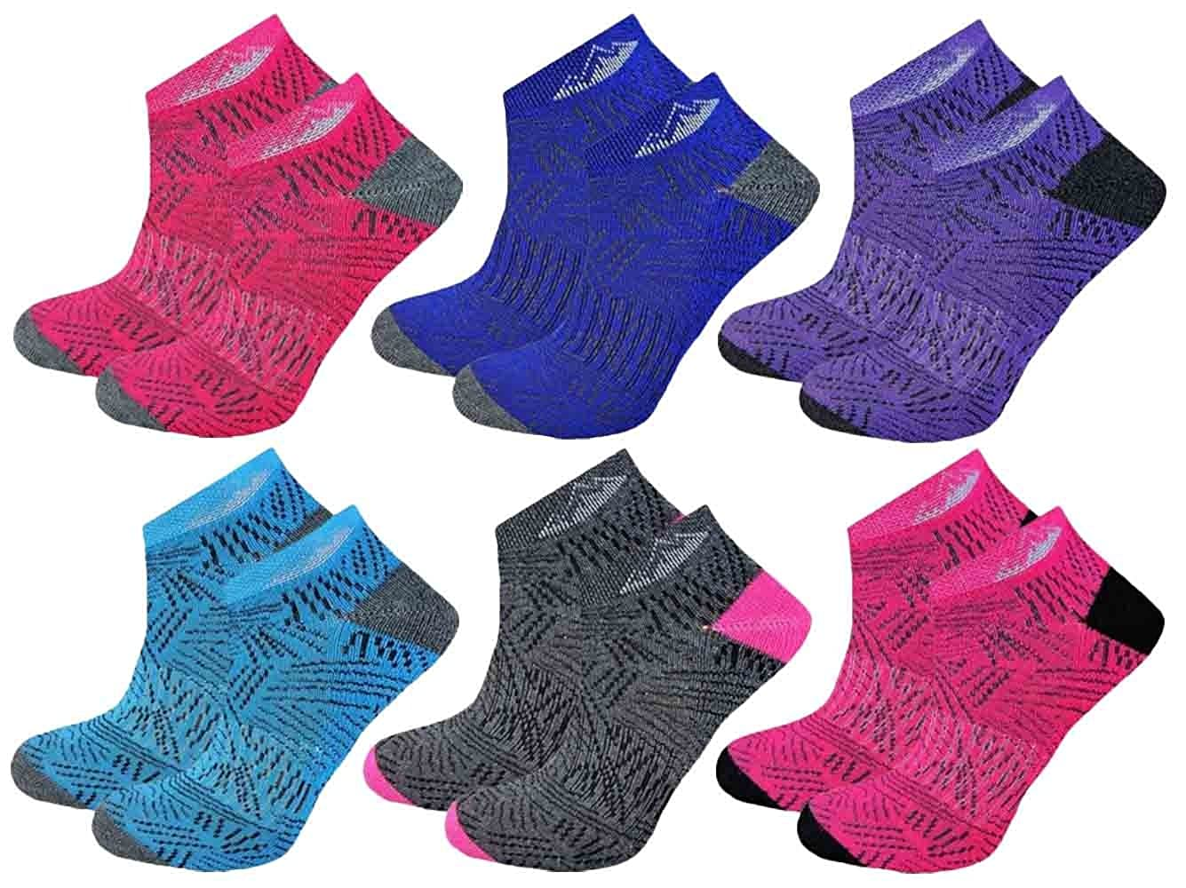 6 Pairs Ladies Prohike Cushioned Trainer Socks, Dash Multi Coloured, Size 4-8