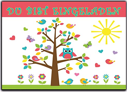 Eulen Set Kindergeburtstag Einladung Geburtstag Eule Vögel Kinder Einladungskarten  Eule Jungen Mädchen 12 Stück Baum Lustig