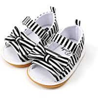 TMEOG Baby Girls Sandals Stripe Bow Knot Rubber Sole Non-Slip Summer Toddler Shoes