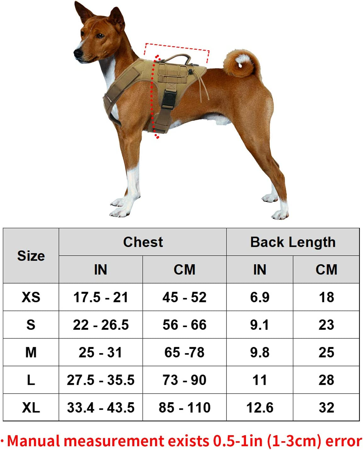 Dihapet Tactical Service Dog Harness No-Pull Adjustable Training Harness with Strong Handle Military Dog Safety Harness with Molle and Velcro Strips