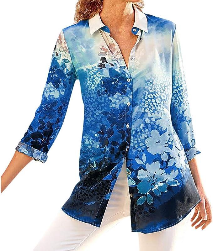 Damen Blumen Longshirt Shirt Tunika Bluse T-Shirt Top Sommerbluse Oberteile DE