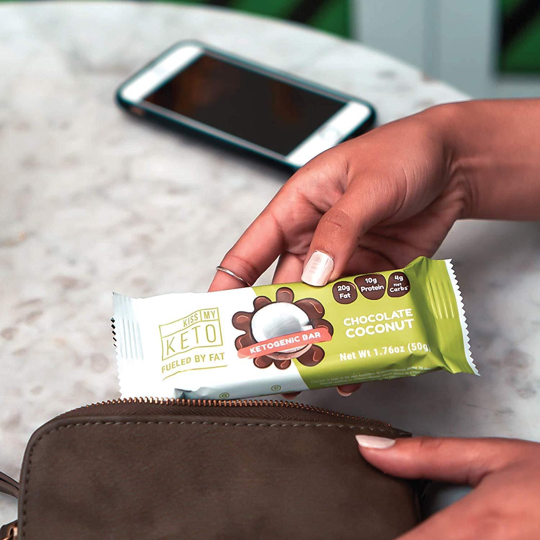 Kiss My Keto Snacks Keto Bars - Keto Chocolate Coconut, Nutritional Keto Food Bars, Paleo, Low Carb/Glycemic Keto Friendly Foods, All Natural On-The-Go Snacks, Quality Fat Bars, 4g Net Carbs by Kiss My Keto (Image #6)