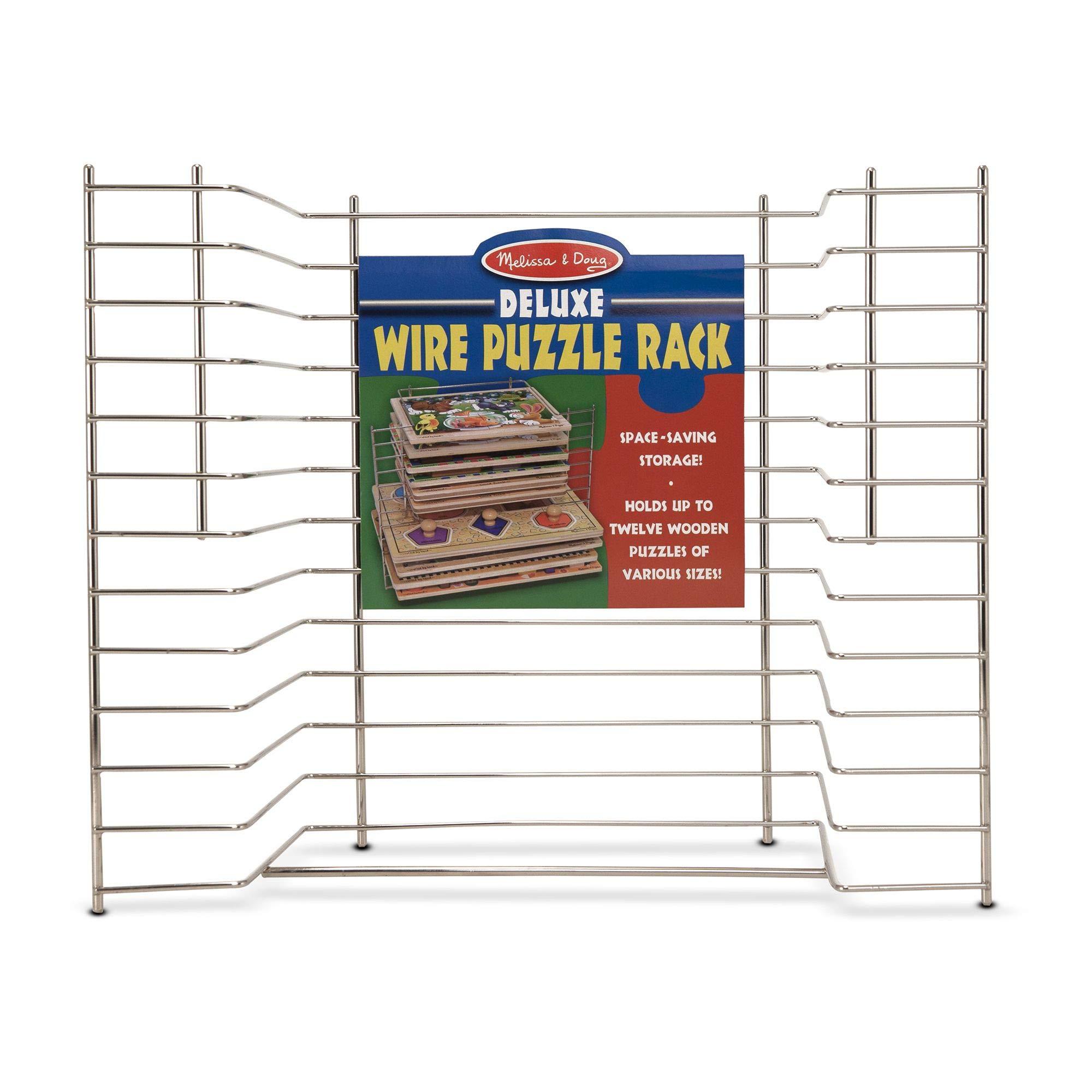 "Melissa & Doug Deluxe Wire Puzzle Storage Rack, Sturdy Metal Construction, Pre-assembled, Wooden Puzzle Storage, 16.5"" H x 13.2"" W x 8.2"" L"