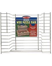 Melissa & Doug Deluxe Wire Puzzle Storage Rack (Sturdy Metal Construction, Pre-assembled, Wooden Puzzle Storage)