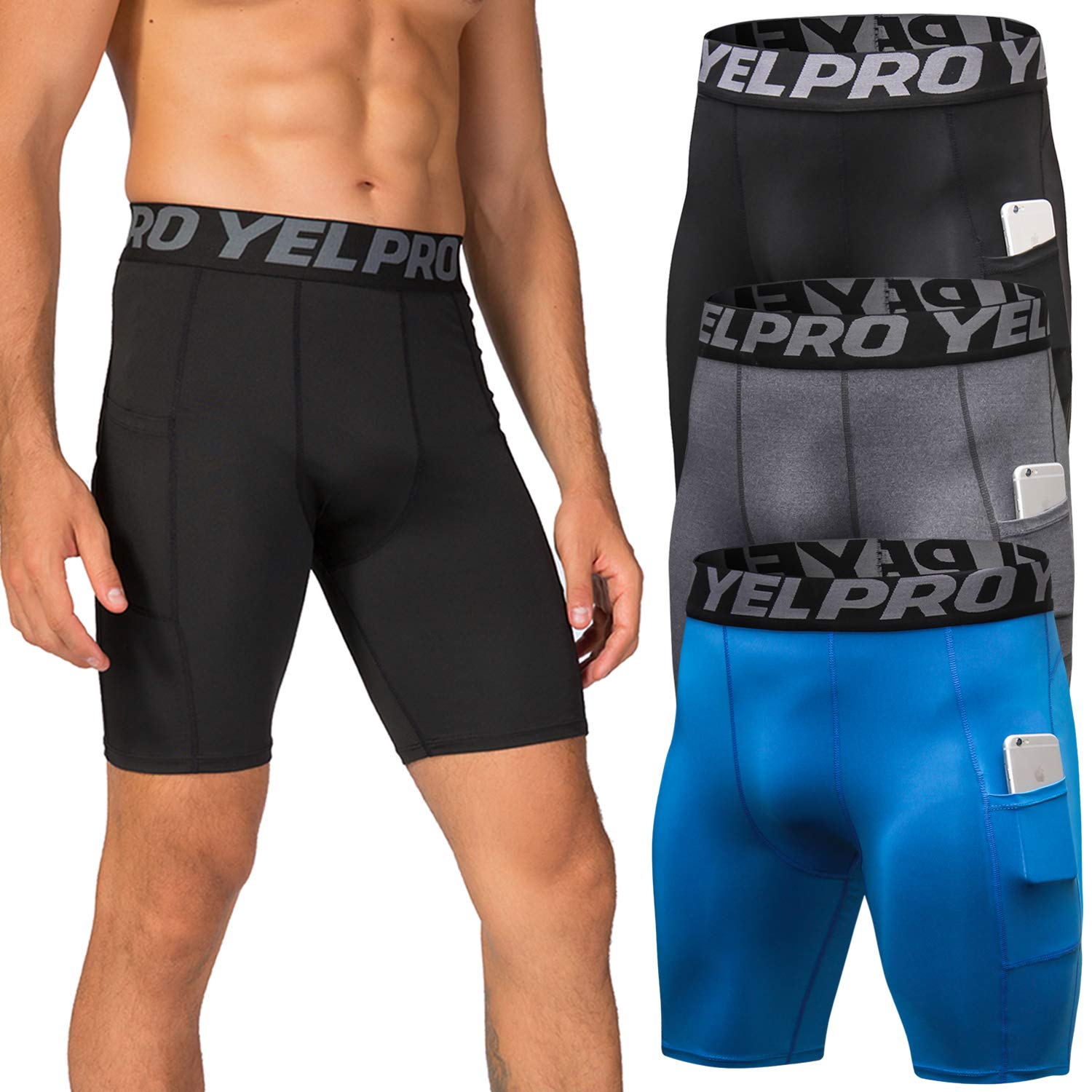Lavento Men's Compression Shorts Baselayer Pocket Cool Dry Workout Tights (3 Pack-3814 Black/Gray/Blue,2X-Large) by Lavento