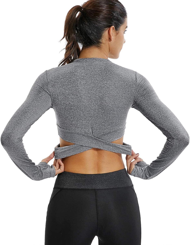 KIWI RATA Damen Nahtloses Langarmshirt Yoga Gym Crop Top Daumenloch Fitted Sportwear Sportwear Shirts