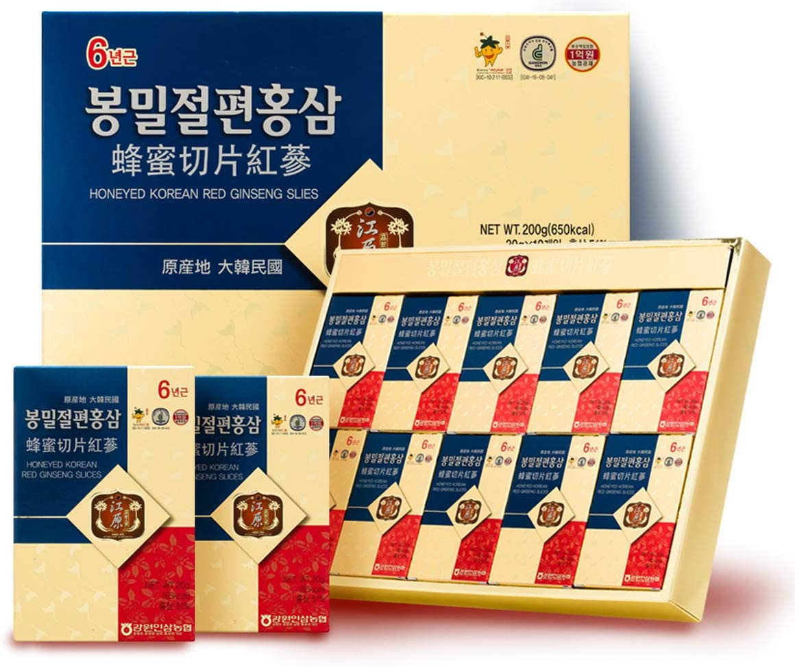 Gangwoninsam 6 Year Honeyed Korean Red Ginseng Slices, Healthy Korean Food, Portable Packs, 20g x 10 Packs 7.05 fl. oz