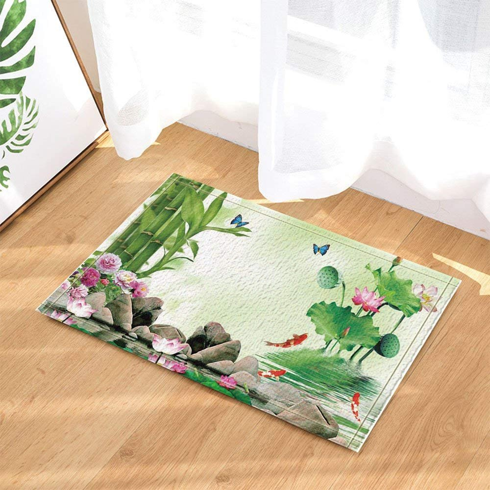Spa Decor Japanese Bamboo Lotus Butterfly and Red Carp Against Lake River Bath Rugs Non-Slip Doormat Floor Entryways Indoor Front Door Mat Kids Bath Mat 15.7x23.6in Bathroom Accessories