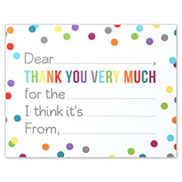 Amazon.com: Fill in the Blank Thank You Notes for Kids   Confetti