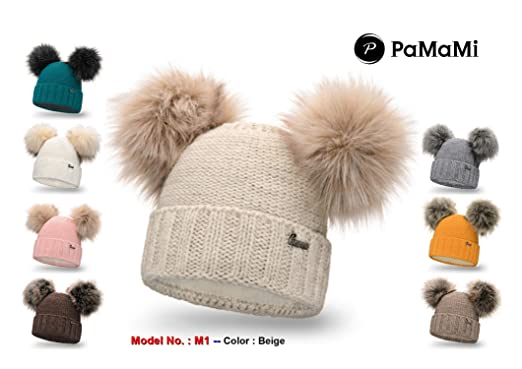 145f3379 PaMaMi Ladies Winter Hat Caps Beanie with Double/Two Pom Pom Skin-Friendly  Winter Sports Ski Fleece Lined - M1 (M1- Chocolate): Amazon.co.uk: Clothing