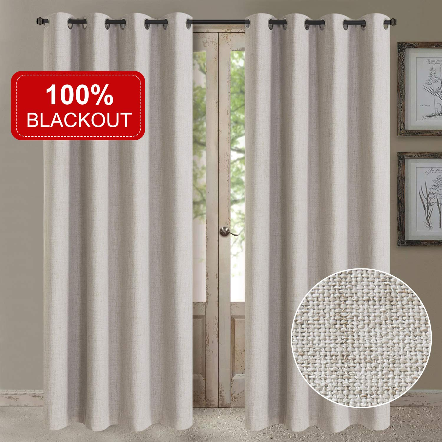 Rose Home Fashion 100% Blackout Curtains for Bedroom Linen Textured Look Drapes with Blackout Liner, Curtains for Living Room/Farmhouse, Burlap Curtains-Set of 2 Panels (50x84 Beige) by Rose Home Fashion