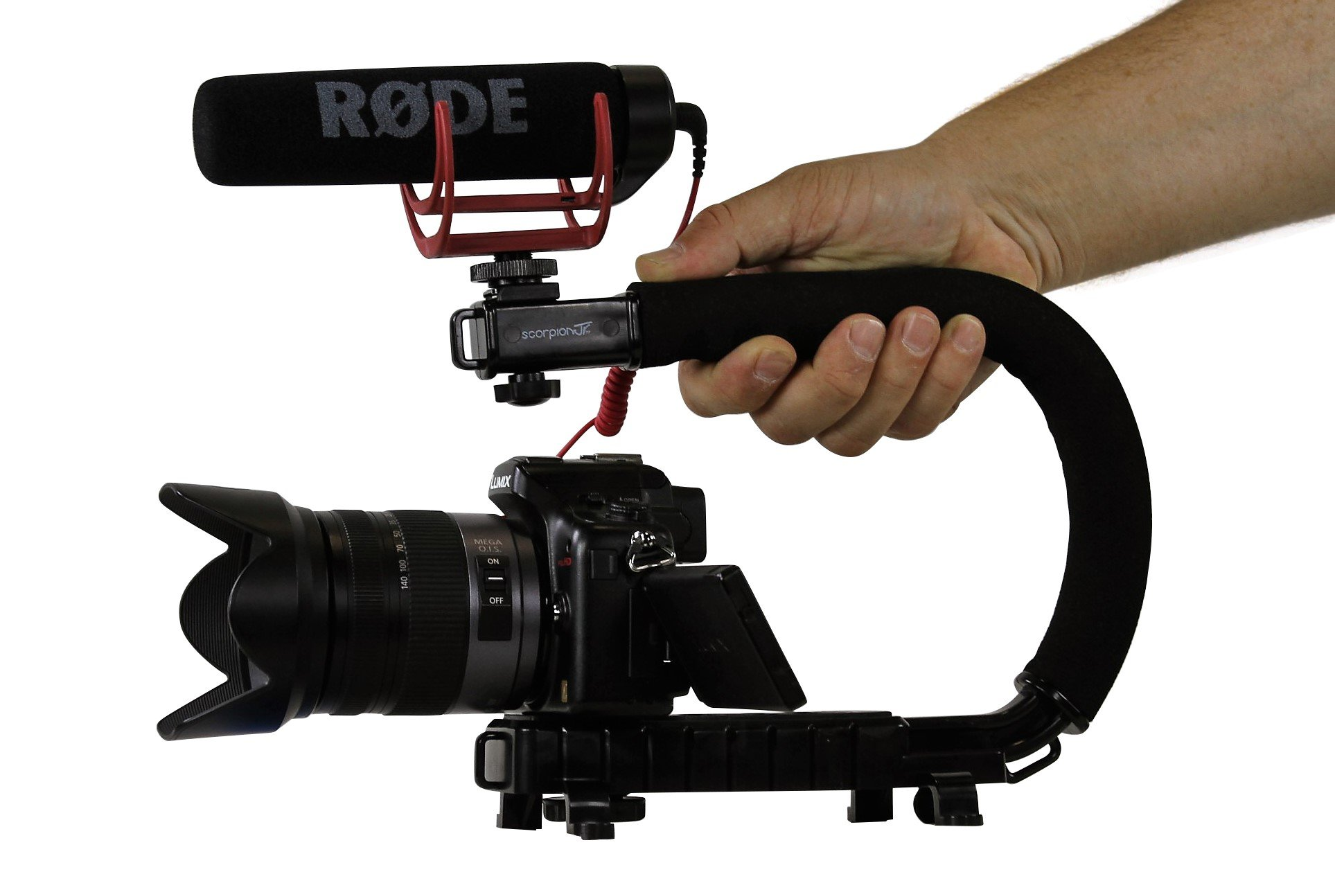 Cam Caddie Scorpion Jr Stabilizing Camera Handle for DSLR and GoPro Action Cameras - Professional Handheld U/C-Shaped Grip with Integrated Accessory Shoe Mount for Microphone or LED Video Light - Includes: Smartphone / GoPro Adapters and 1/4-20 Threaded M