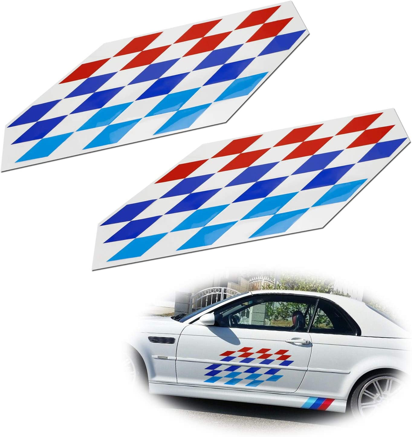Left and Right Checkered FLAG Decal BMW Motorsport
