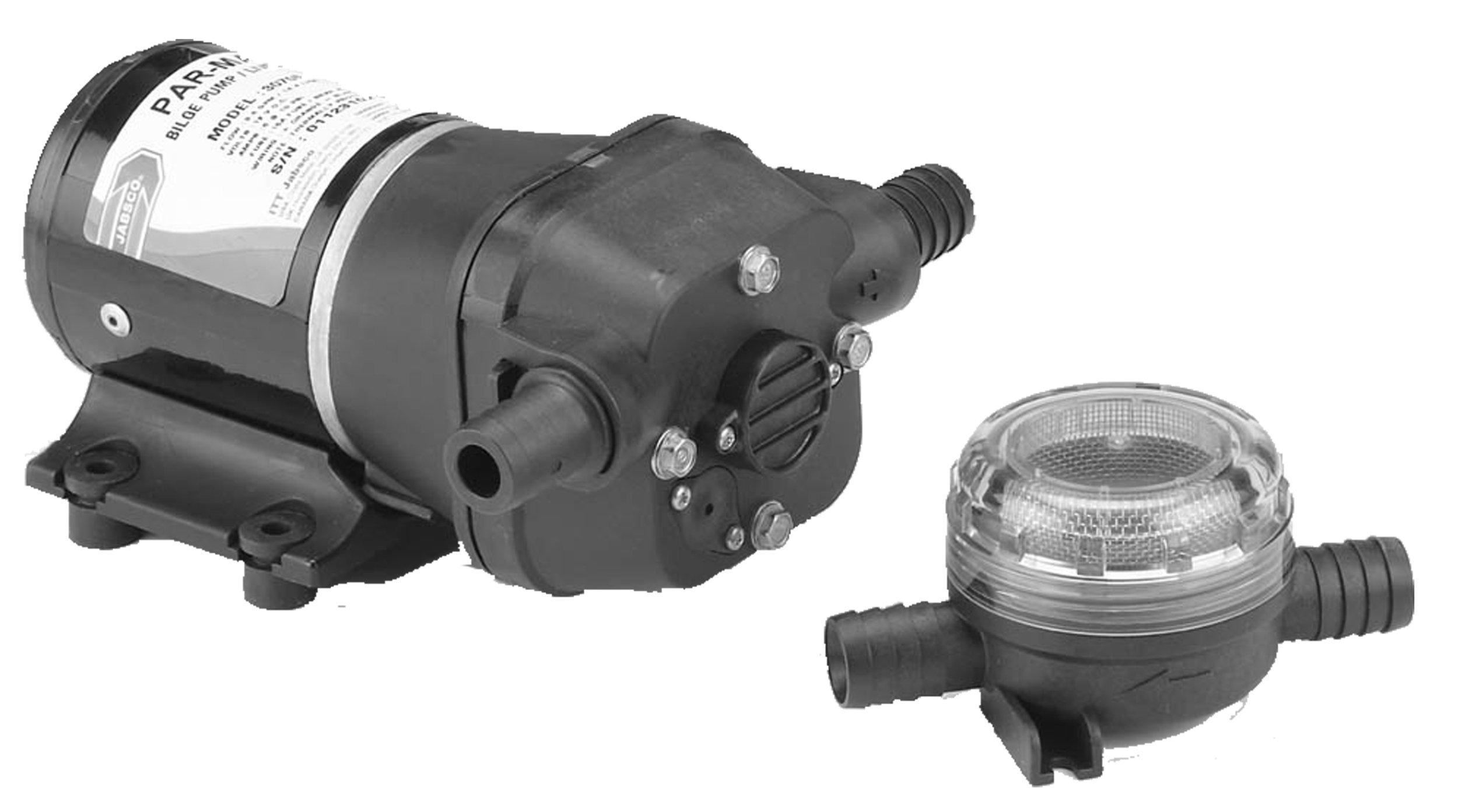 Jabsco 31610-0094 Marine ParMax 3 Shower Drain Water Pump (3.5-GPM, 24-Volt, 7-Amp, 3/4'' Connection)