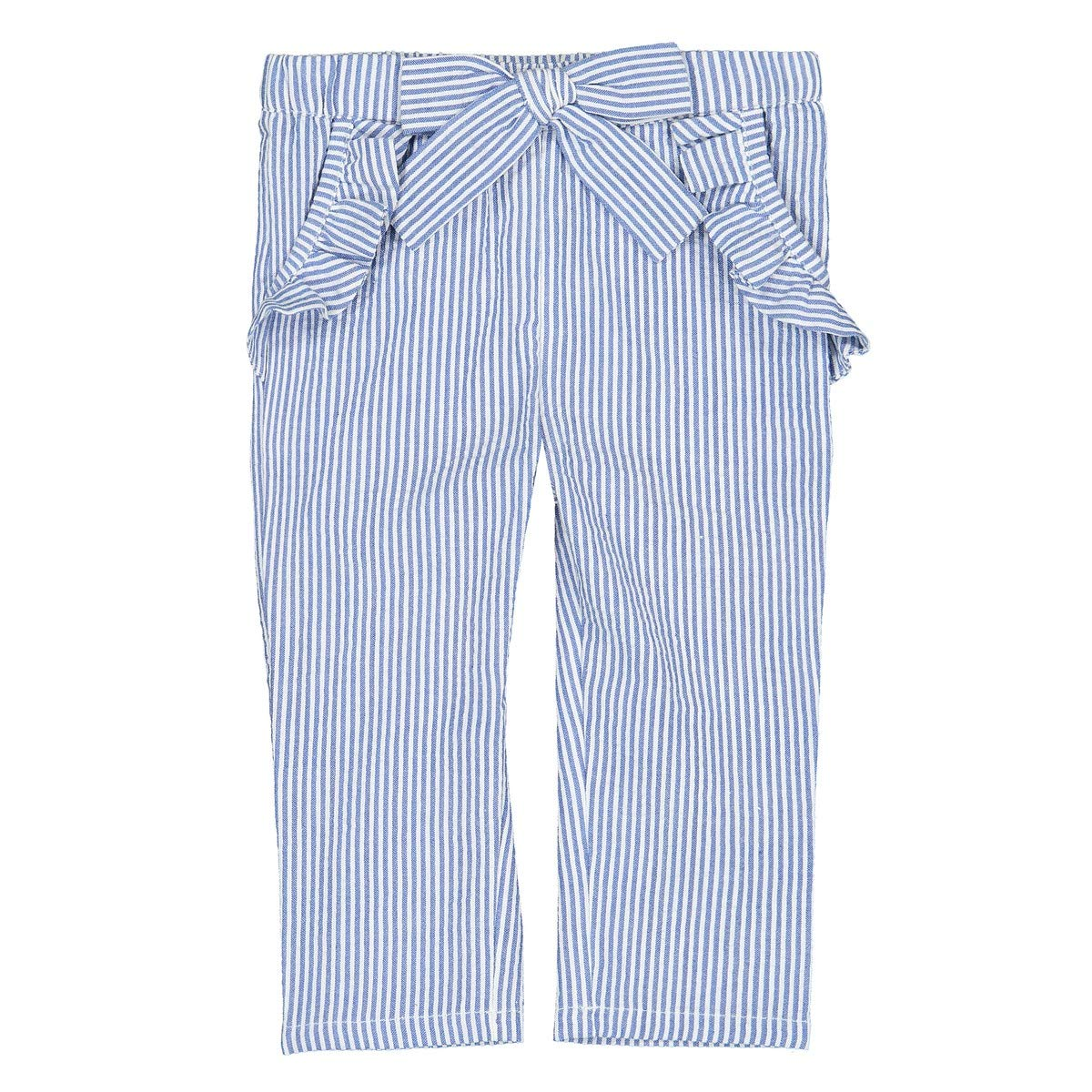 1 Month-3 Years La Redoute Collections Big Girls Striped Trousers with Ruffled Pockets