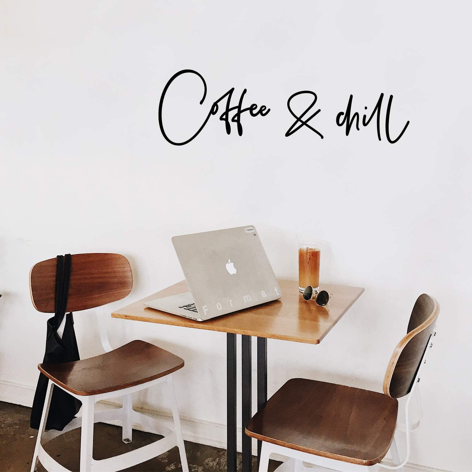 """Vinyl Wall Art Decal - Coffee & Chill - 10"""" x 35"""" - Modern Inspirational Cafe Quote Sticker for Coffee Lovers Home Office kitchenette Restaurant Living Room Store Coffee Shop Decor (Black)"""