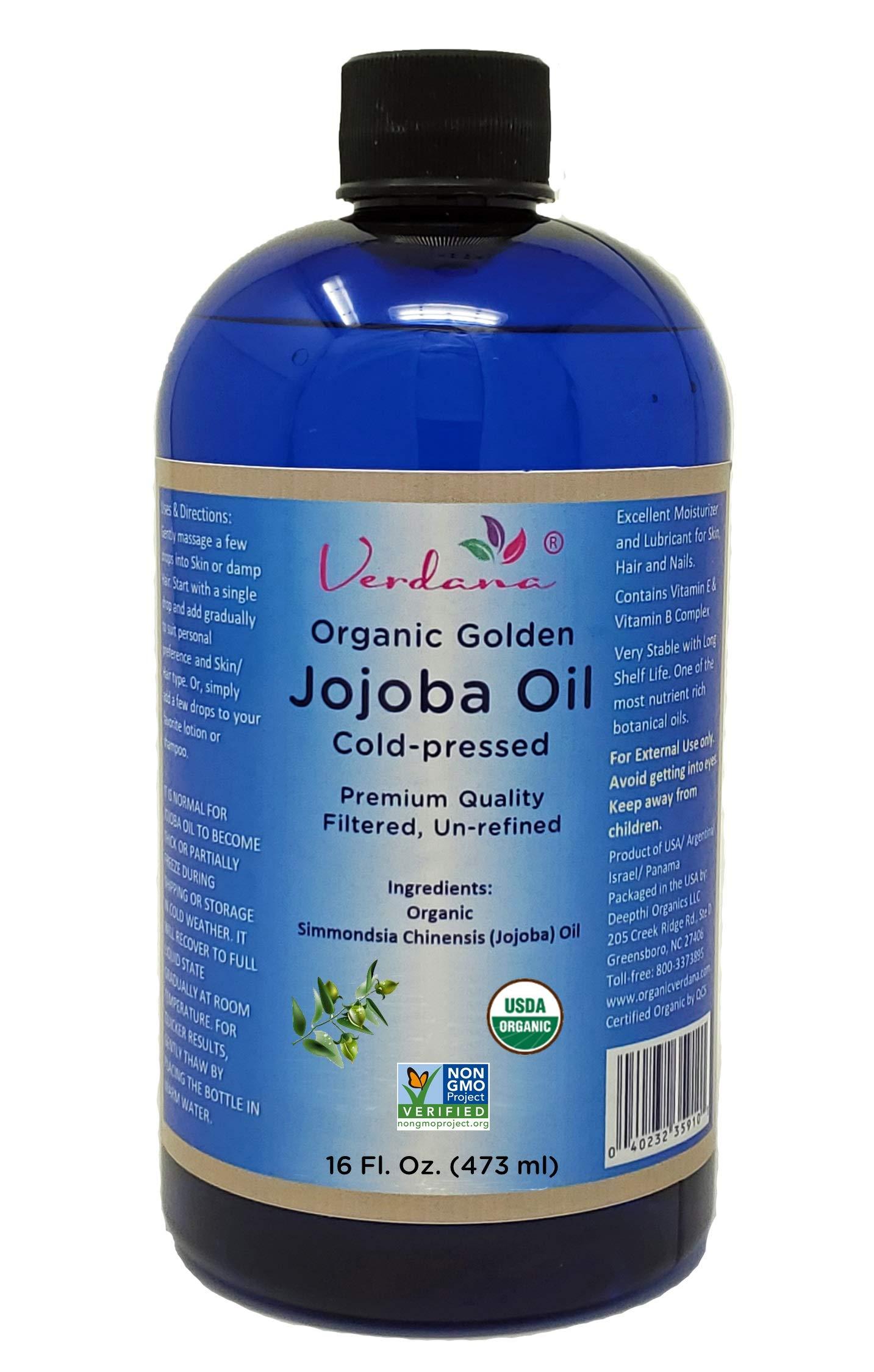 Organic Verdana USDA Certified Organic Golden Jojoba Oil, Cold Pressed, Unrefined, 16 Fl. Oz. – 100% Pure - Hexane free - Non GMO – for Face & Hair – Carrier Oil Base