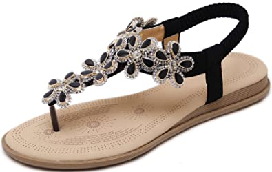 69bea8ad9 Image Unavailable. Image not available for. Colour  YE Women s Bohemia Flat  Sandals Summer Beach Rhinestone Elastic T-Strap Flip-Flop Thong