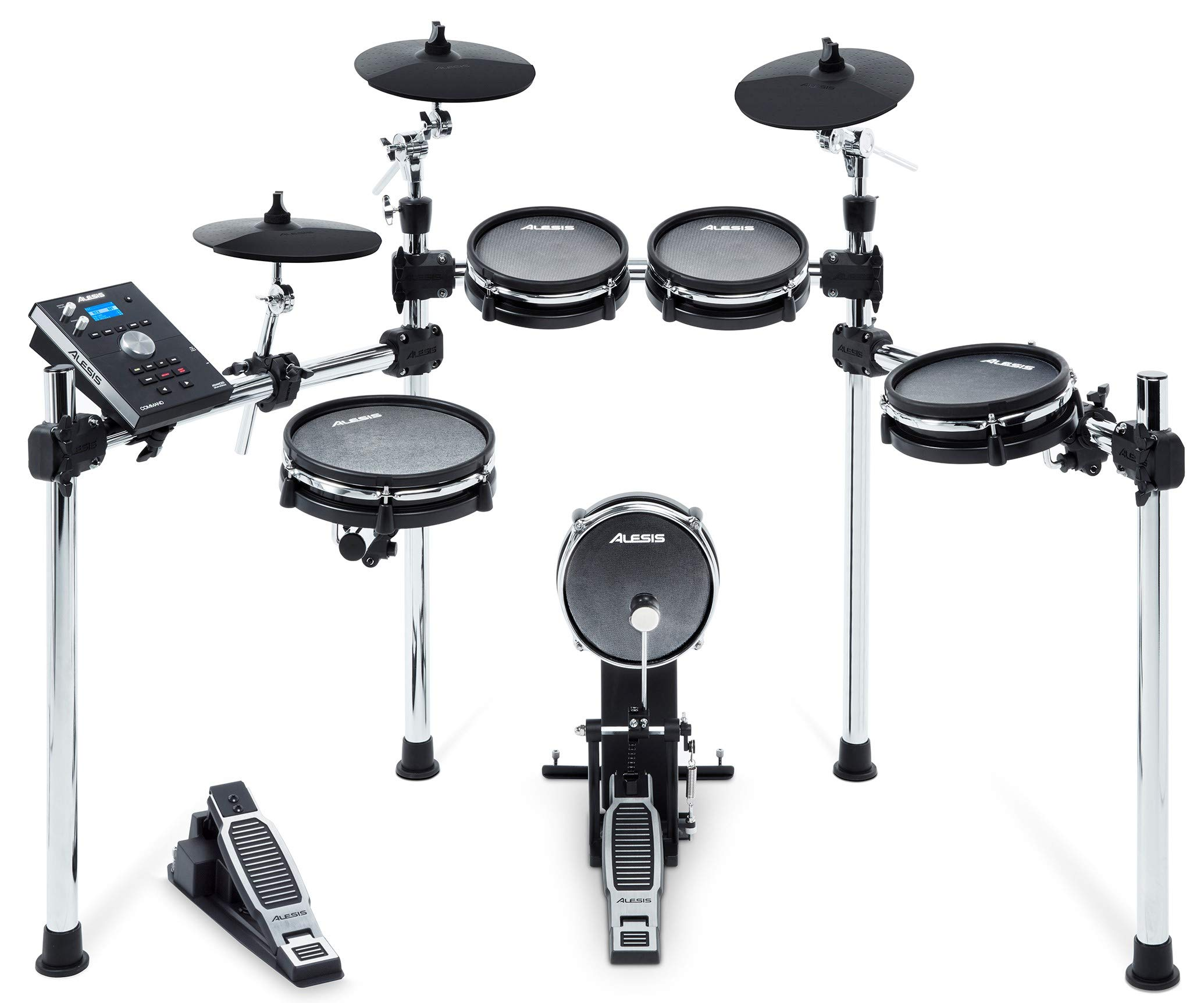 Alesis Command Mesh Kit | Electronic Drum Kit with Mesh Heads, Chrome Rack & Command Drum Module with 70 Kits, 600+ sounds 60 Play Along Tracks, Custom Sample Loading and USB/MIDI Connectivity by Alesis