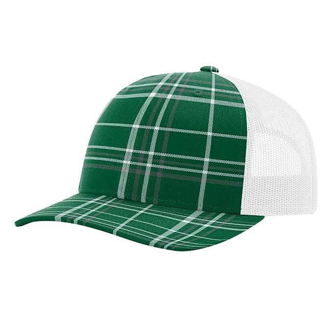 c5f13e51e4d Twill Mesh Back Trucker Snapback Hat -- DARK GREEN CHARCOAL PLAID ...