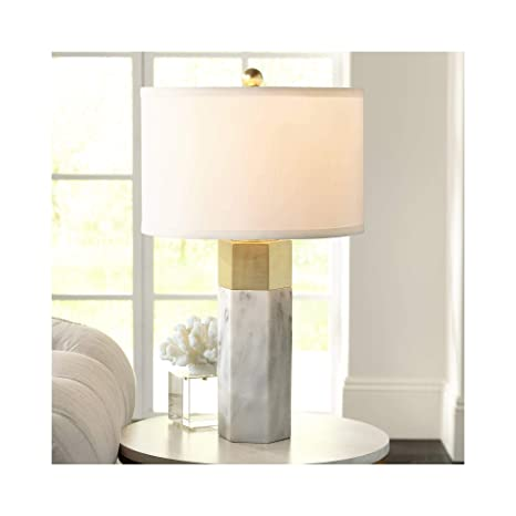 Leala Modern Accent Table Lamp Marble Brass Hexagonal Column White