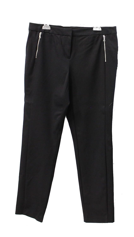 Alfani Zip-Pocket Slim-Leg Trousers (Black, 10)