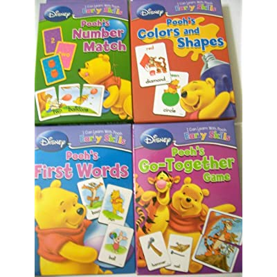 Disney I Can Learn with Pooh Early Skills Card Games ~ Complete Set (First Words, Number Match, Colors & Shapes, Go-Together Game)[Package may vary]: Toys & Games