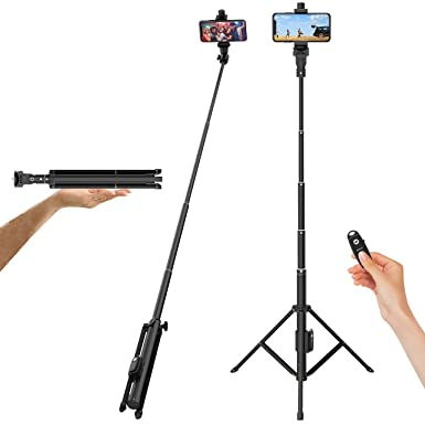 "Selfie Stick Tripod, 52"" Extendable Phone Camera Selfie Stick With Tripod Stand & Wireless Remote Compatible With I Phone Xs X 6 7 8/ Huawei/Samsung Galaxy S9 Note8/ Xiaomi/Go Pro/Android Phones by Outsolidep"