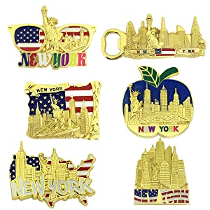 6 Pack Gold Bundle Fridge Magnets New York Souvenir Empire State Building Skylines,Statue Of Liberty,Big Apple,USA Flag, Bottle Opener too