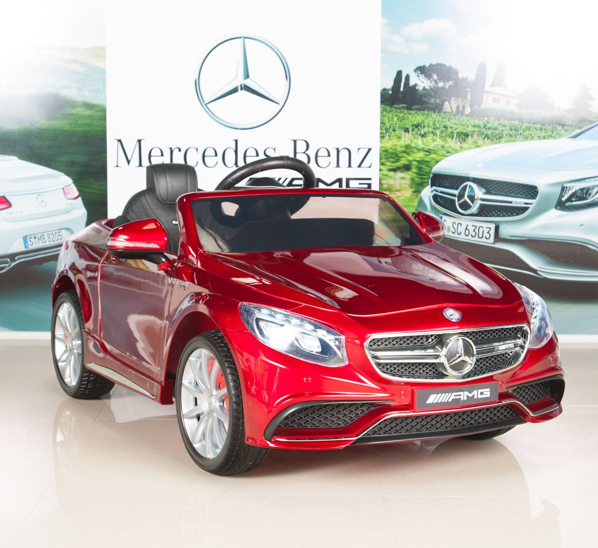 amazoncom mercedes benz s63 ride on car kids rc car remote control electric power wheels w radio mp3 red toys games