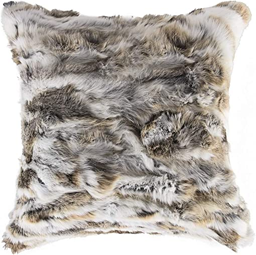 Natural Handcrafted Rabbit Fur Pillow with Polyfil Insert and Zipper Closure, Tan, 18 in x 18 in