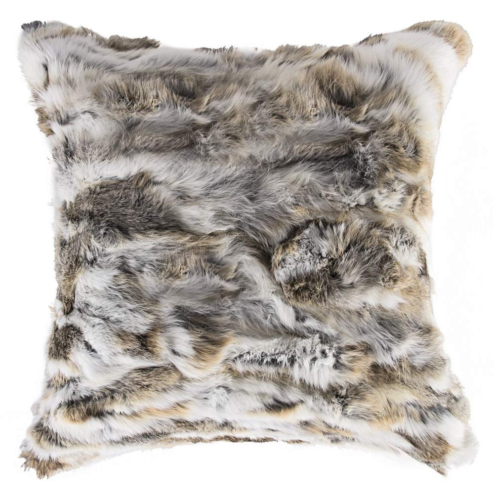 Natural Handcrafted Rabbit Fur Pillow with Polyfil Insert and Zipper Closure, Tan, 18 in x 18 in by Natural Design Architecture Lifestyle N