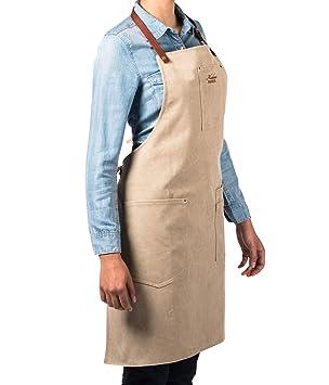 Alaskan Maker Tablier De Cuisine En Toile Vintage Et Cuir Multipoches N 325 Liens A Nouer Taille Universelle Pour Hommes Et Femmes Beige