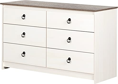 Pure White with Nickel South Shore Litchi 6-Drawer Double Dresser