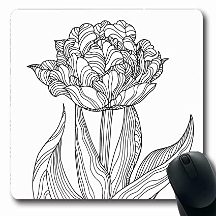 Amazoncom Ahawoso Mousepads Drawing Spring Tulip Flower Forest